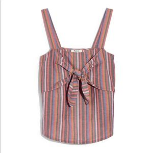MADEWELL-Front Cami Top in Rainbow Stripe